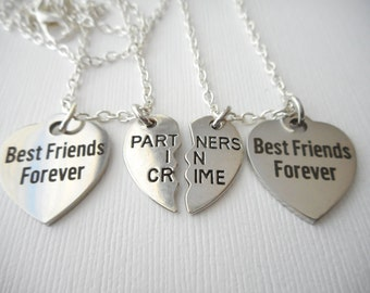 2 Partners in Crime, Best Friends Forever Necklaces/ Bff jewelry, Friendship Necklace, gift ideas, best friend gift, bff gift