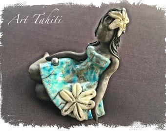"Doll ""Tahitian Hula"" Raku and Tahitian Pearl"