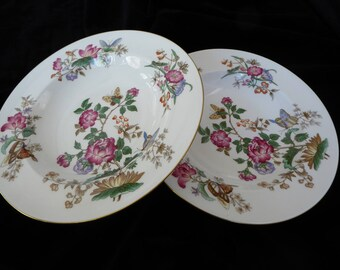 "Pair of Vintage Wedgwood CHARNWOOD Bone China LARGE 9"" Soup Bowl Flowers Butterflies Gold Trim WD3984 Circa 1951-1987"