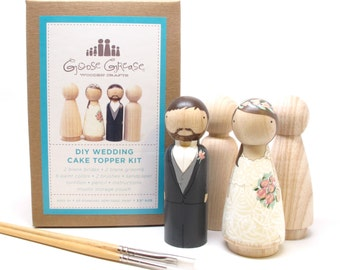 Cake Topper Wedding Cake Topper Wooden Cake Topper Kit Extra Couple Do-It-Yourself Custom Wedding Cake Topper Fair Trade Dolls Goose Grease