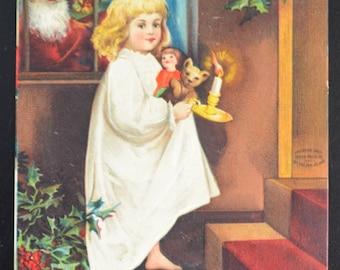 Christmas Postcard Santa wiht Child Ellen Clapsaddle Post Card