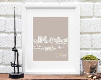 Engagement Wedding Gift, City Skyline, Edmonton, Alberta Canada, Bridal Shower Gift, Guest Book Reception Poster, Anniversary