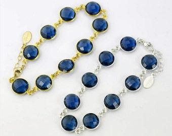 Kyanite bracelet, Custom birthstone bracelet, gemstone bracelet, bezel Bracelet, Bridesmaid bracelet, station bracelet, September Birthstone