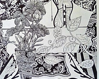 "Lmtd. Ed. Black & White Pen and Ink Print ""Intricate Futures"" by claudia artist signed 12/150 Free Ship"