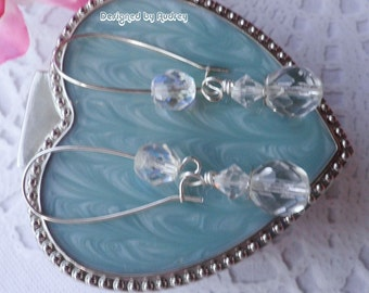 Crystal Clear Sparkle Swarovski Triple Gem  Earrings