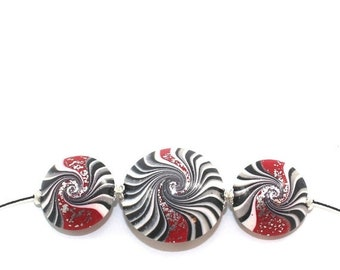 MEMORIAL DAY SALE Swirl lentil beads in black, white and red with silver touch, Polymer Clay beads for Jewelry Making, elegant beads Set of
