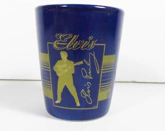 Bleu foncé Elvis Presley à liqueur verre dorer or officiel epe