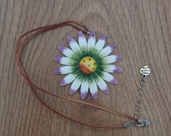 Ceramic Flower Pendant / Necklace -Passiflora - Passion Flower.