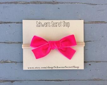 velvet baby headband, hand tied bow, baby girl bow, nylon headband, baby bow headband, school girl bow, baby hair bow, infant headband