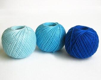 Cotton crochet thread, 3 balls, blue mix, 25 g per ball