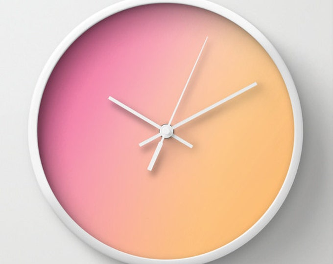 Pink to Orange Ombre Clock - Wall Clock - Ombre Art - Orange Clock - Pink Clock - Made to order