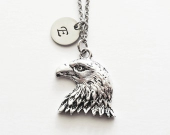 Eagle Necklace, Bald Eagle Head, Bird, Animal Jewelry, Friend Gift,Birthday Gift, Silver Initial, Personalized Monogram, Hand Stamped Letter