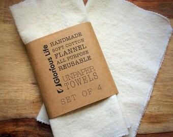 Set of 4 UNPAPER TOWELS, Reusable Kitchen Towels, Cloth Paper Towels