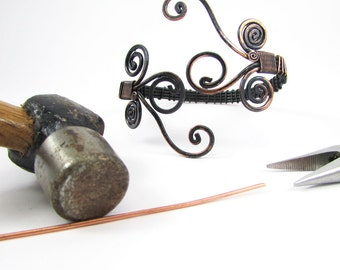 Handmade Copper wire wrapped cuff bracelet