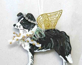 Hand-Painted BORDER COLLIE Angel Wood Ornament.....Artist Original