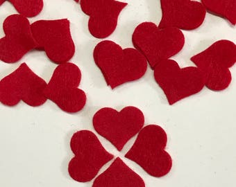 "100 - 1"" x 7/8"" Die cut felt hearts, Red heart, Pointed Buttom Felt heart, Headband supplies,  Scrapbooking supplies, Embellishments"