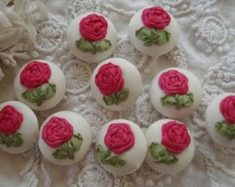 1 Piece Handmade Deep Pink Silk Roses Ribbon Work Flower Buttons Vintage Bebe Doll Dress Sewing Trim Hat Crazy Quilt Collage Art Tote Bag