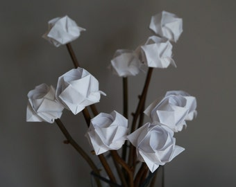 Gift for mum/wife/girlfriends-ever last paper roses bouquet -origami roses on natural sticks-last forever