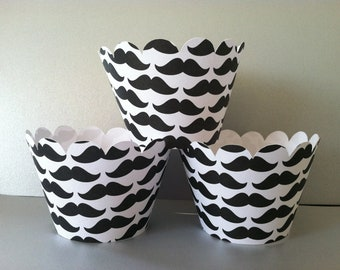 Mustache Cupcake Wrappers set of 12 Ready to Ship