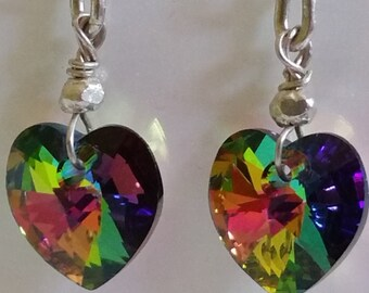 Swarovski Crystal Vitrail Medium Rainbow Colours Heart Earrings