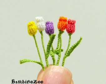 Miniature amigurumi crochet tulip flower, tulips are sold individually - choose quantity and color at checkout.