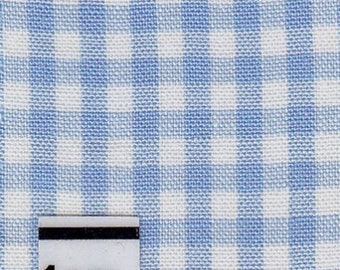Cotton gingham blue sky, checkered, by 10 cm