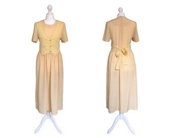 Yellow 90's Dress | 1990's Vintage Dress | Waistcoat Dress | Yellow And White Check Dress