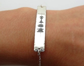 Sound Wave Bracelet - Custom Sterling Silver Engraved Bracelet - Waveform Bracelet - Soundwave Jewelry - Wedding Jewelry - Voice Recording