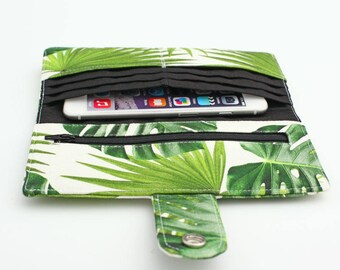 Tropical Wallet, Philodendron Leaf Long Wallet, Travel Wallet, Fabric Phone Wallet, Women's Handmade Wallet - tropical palm leaf
