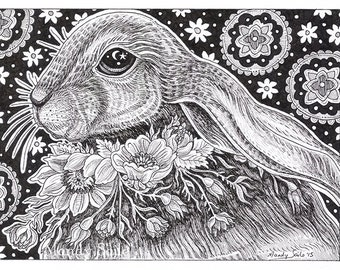 "Rabbit Ink Drawing 18 - a whimsical black & white ink pen 8 x 10"" ART PRINT of a beautiful female rabbit wearing a beautiful ring of flowers"