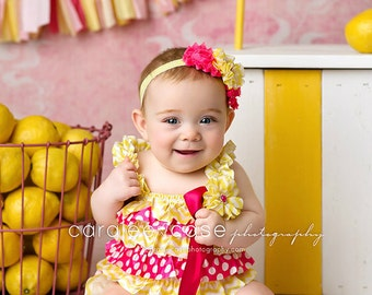 Pink Lemonade 1st Birthday- Yellow & Pink Baby Romper- Baby Girl Rompers -Ruffle Rompers - 1st Birthday Outfit Sunshine Birthday Cake Smash
