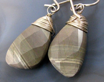 Striped Jasper Earrings - faceted, sterling silver, wire wrapped, natural stone, neutrals, browns, beiges, tans