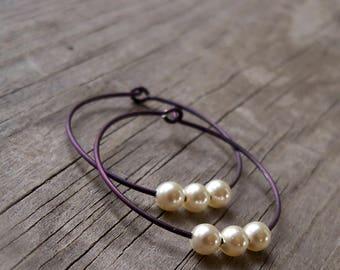 Titanium Hoop Earrings - Hypoallergenic - Purple Hoop Earrings - Hypoallergenic Pearl Earrings - Titanium Earrings - Vintage Style Earrings
