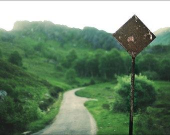Way To Leave, original fine art photography, print, landscape, road, 8x12, path, highland, scotland, mountain, wood, forest, glen nevis