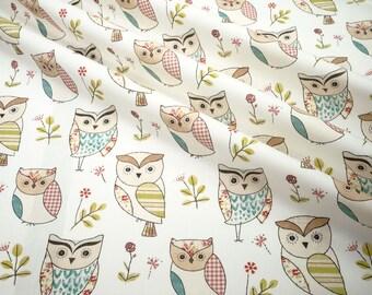 Deco Fabric Clarke & Clarke  Hoot sage owls Cotton fabric 0.54yd (0.5m) 003882