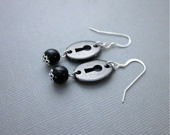 Black Dangles -- Dark Earrings -- Black Charm Earrings -- Key Charm Earrings -- Lock Earrings -- Black Obsidian Earrings -- Obsidian Dangles