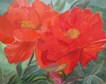Flower painting, Peonies painting, red peony,floral art,gift for her