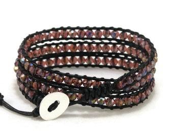Burgundy Wrap Bracelet, Leather Wrap Bracelet, Beaded Wrap Bracelet, Leather Bracelet, Boho Wrap Bracelet, Bohemian, Gift for Her, Gift Idea