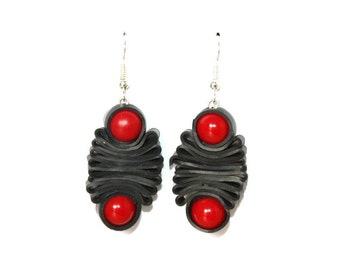 Red inner tube earrings