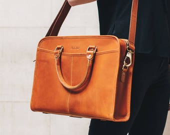Leather briefcase 14 inch laptop satchel Messenger Bag for men and women - Niche Lane Loxley Tan