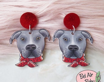 American Staffy Dangle Earrings / Studs / Pinup / 1950s / Vintage / Rockabilly / Retro / Staffordshire Terrier / Pitbull