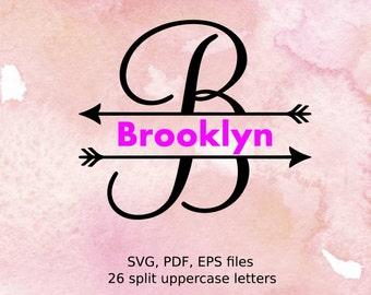 Split letter SVG with arrows, Split Monogram Letters, Split Alphabet svg files, arrow svg initials , svg font for cricut, arrow monogram svg