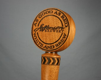 Custom Beer Tap Handle Personalized Your Brewing Logo with Woodburning - Made to Order - Solid Mahogany
