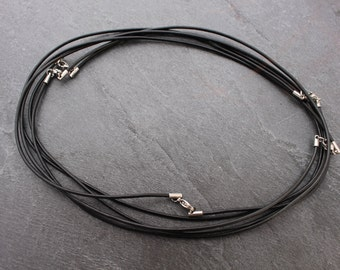 "24 Inch Black Leather Cord / Necklace 24"" Stainless Steel Clasp, Lobster Claw"