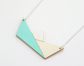 ALIZI.PLAY-WOOD Jewelry - wooden pendant / wooden necklace / pendant / origami paper boat / mint / geometric necklace / wooden jewelry