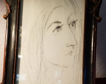 Vintage-Old Sketch-Drawing-Picture-Young Girl-Barbara A. Wood-Wall Hanging