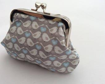 Scandi bird print double metal frame coin purse