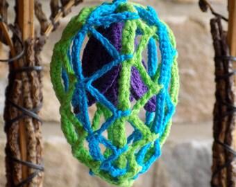 Crochet Easter Egg with flower, original Easter egg, hanging ornament, Easter decoration, Easter decor, Crochet Easter egg, crochet decor