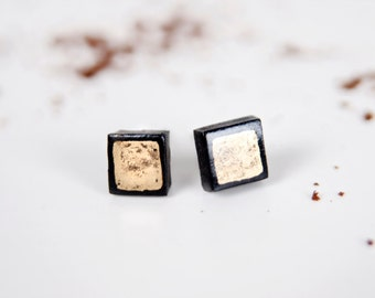 Stud Earings For Men, Gold Square Studs, Square Earring, Earring Stud, Abstract Earrings, Mens Earrings,, Black Post Earring, Black Earings