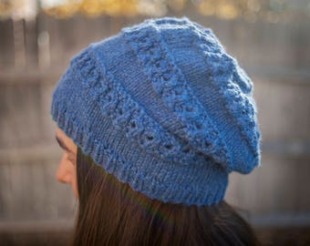Hand knit blue chunky slouchy beanie hat